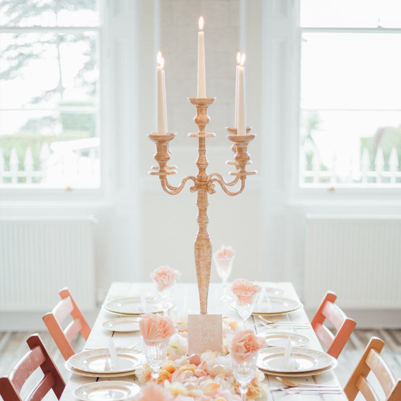 Cream and Gold Candelabra